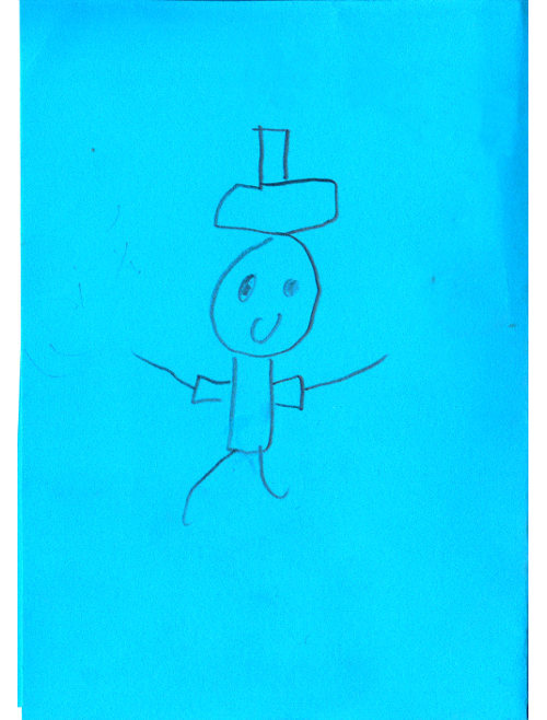 Stick figure of a magician on a blue card