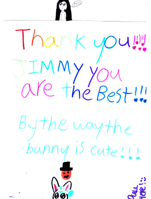 Thank You!!! Jimmy you are the best!!! By the way the bunny is cute!!!