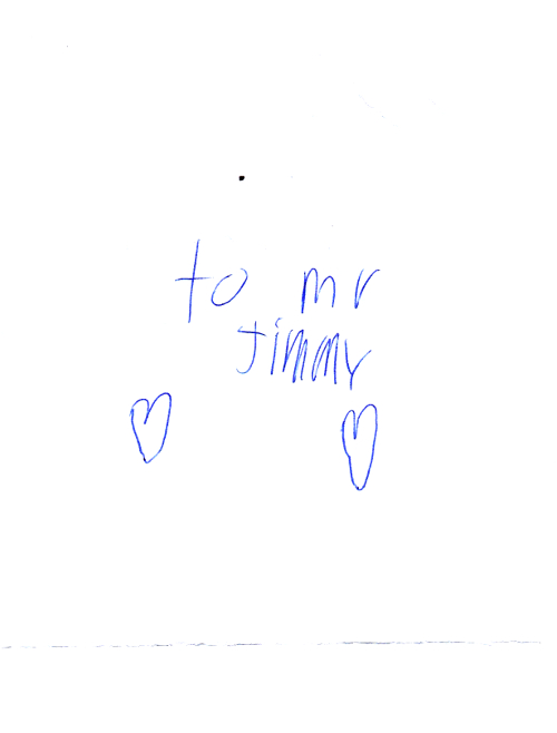 To Mr Jimmy (Handwritten note)