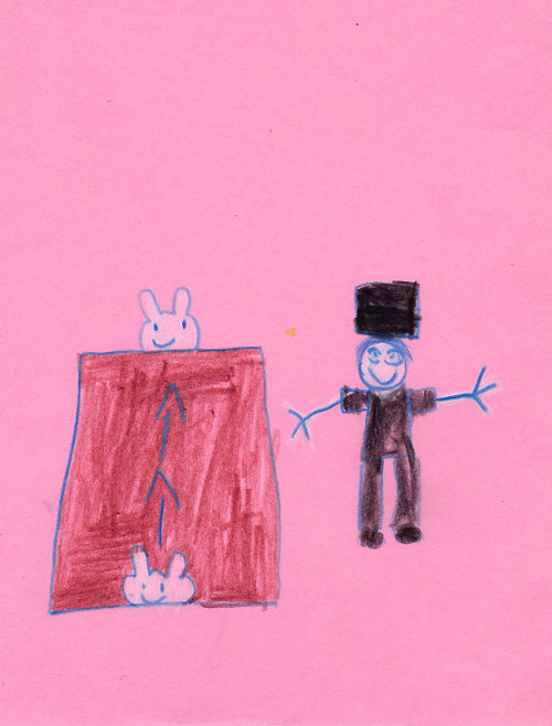 drawing of Jimmy Marvel Kids Magician doing a magic show with a rabbit