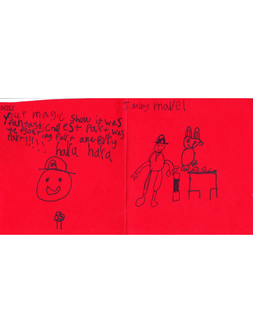"Red card with drawings of a magic show and text ""your magic show it was fantastic. best part was the floating part and every part!!! hara hara"