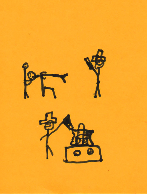 Stick figures in a magic show on a bright orange card