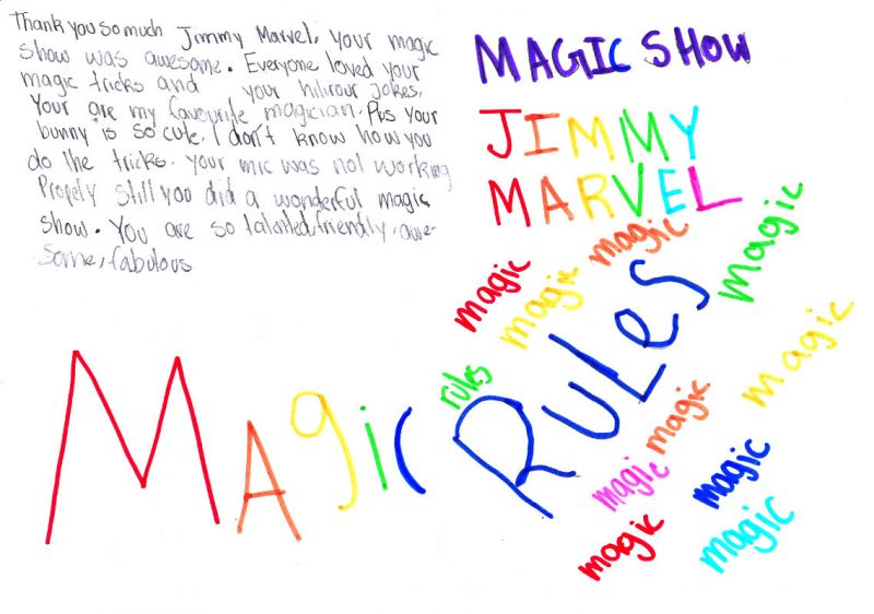Thank you so much Jimmy Marvel, your magic show was awesome. Everyone loved your magic tricks and your hilarious jokes. You are my favourite magician. Plus your bunny is so cute. I don't know how you do the tricks. [Your mic was not working properly still] you did a wonderful magic show. You are so talented, friendly, awesome, fabulous. Magic Rules, Jimmy Marvel Magic Show