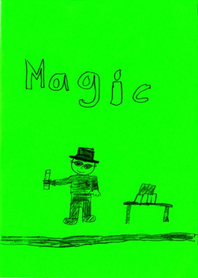 Drawing of a magician holding a wand on a bright green card