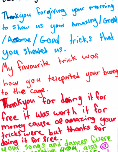Jimmy Marvel Fan Mail Thank You Card from a child